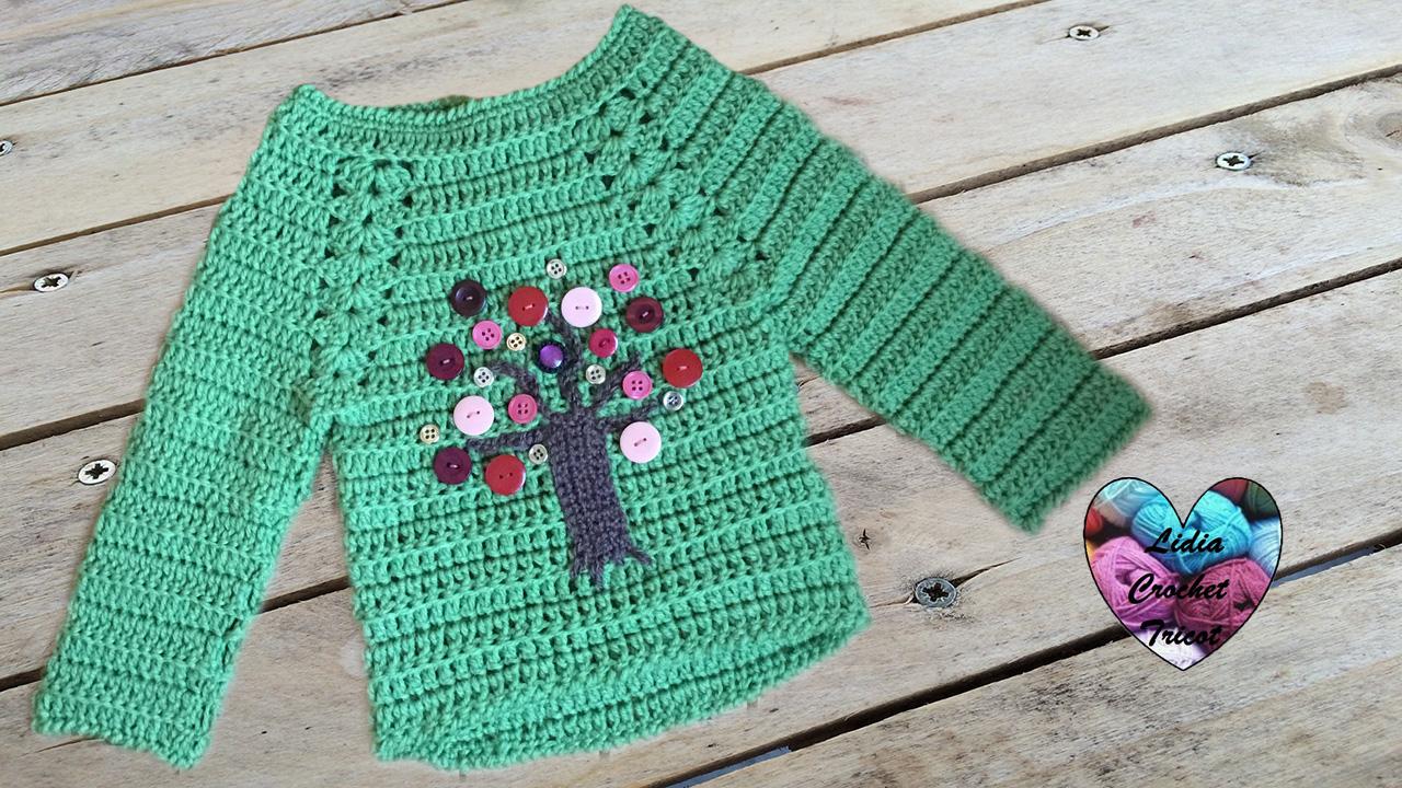 Pull arbre  tutoriel au crochet présenté par Lidia 851d6e8da4f