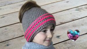 Tutoriels crochet Bonnet Messy Bun enfant crochet fait main tutoriel DIY Lidia Crochet Tricot