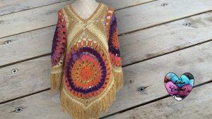 Poncho bohème au crochet tutoriel gratuit DIY Lidia Crochet Tricot
