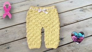 Pantalon bébé motif fleuri crochet DIY Lidia Crochet Tricot