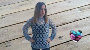 Tutoriels crochet Pull losanges femme crochet fait main tutoriel DIY Lidia Crochet Tricot