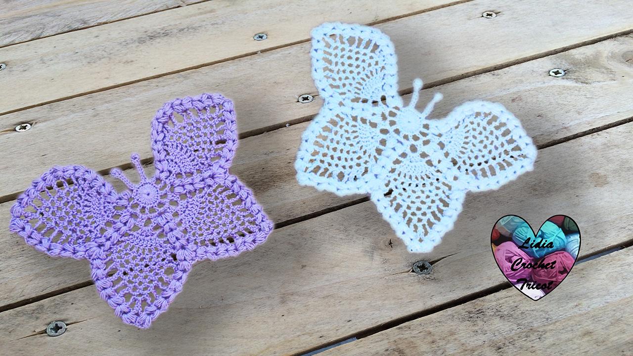 Papillon napperon tutoriel au crochet pr sent par lidia crochet tricot - Modele de papillon ...