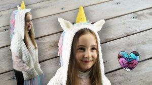 Écharpe capuche licorne Lidia Crochet Tricot