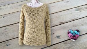 Pull feuilles en relief Lidia Crochet Tricot