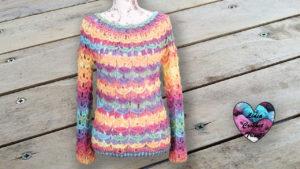 Pull motifs relief Lidia Crochet Tricot