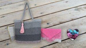 Ensemble sac / pochette / étui à lunettes Candy Lidia Crochet Tricot